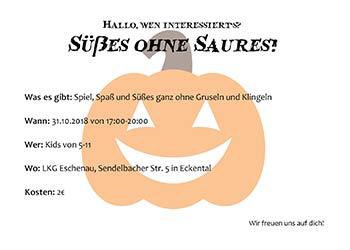 """Süßes ohne Saures""  am 31. Oktober"
